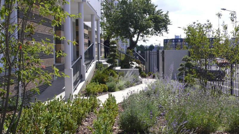 Vue sur les jardins d'accueil de l'ensemble immobilier I3f de 200 logements neufs sur le quartier de la Muette
