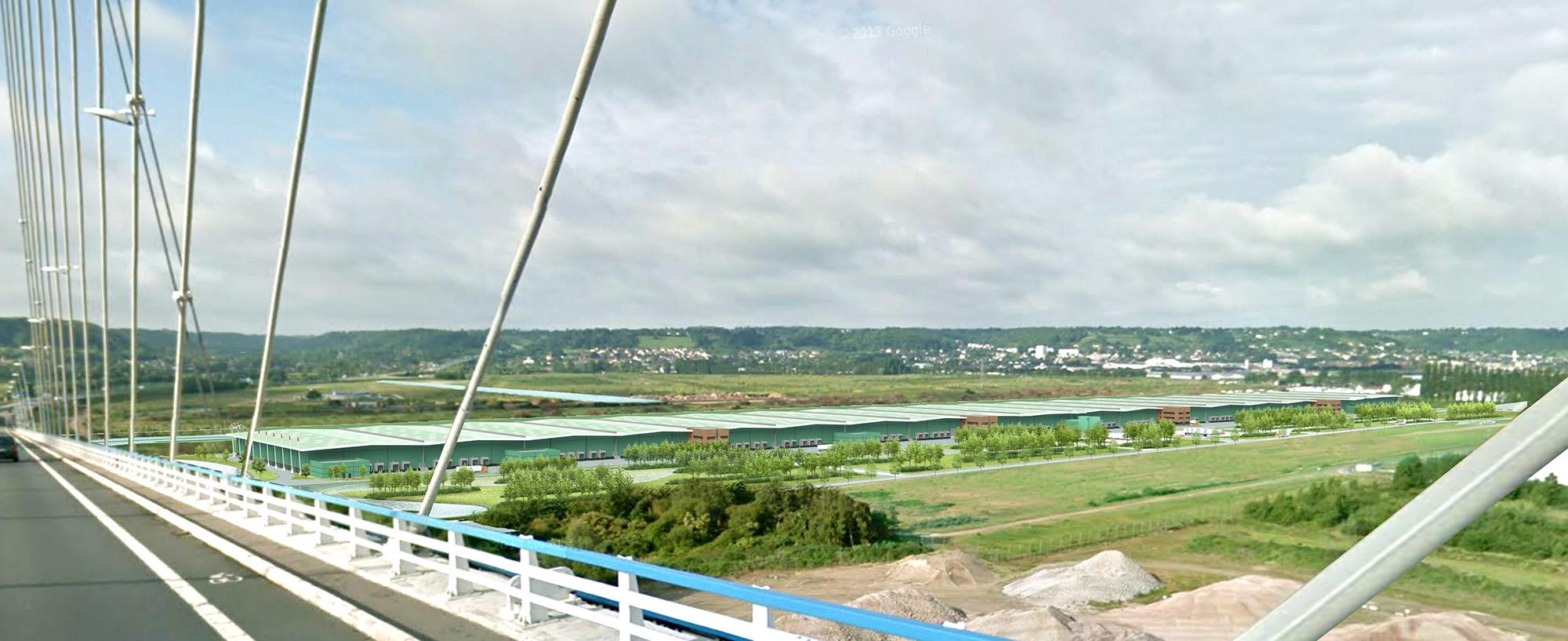 Vue de la zone logistique à partir du pont de Normandie