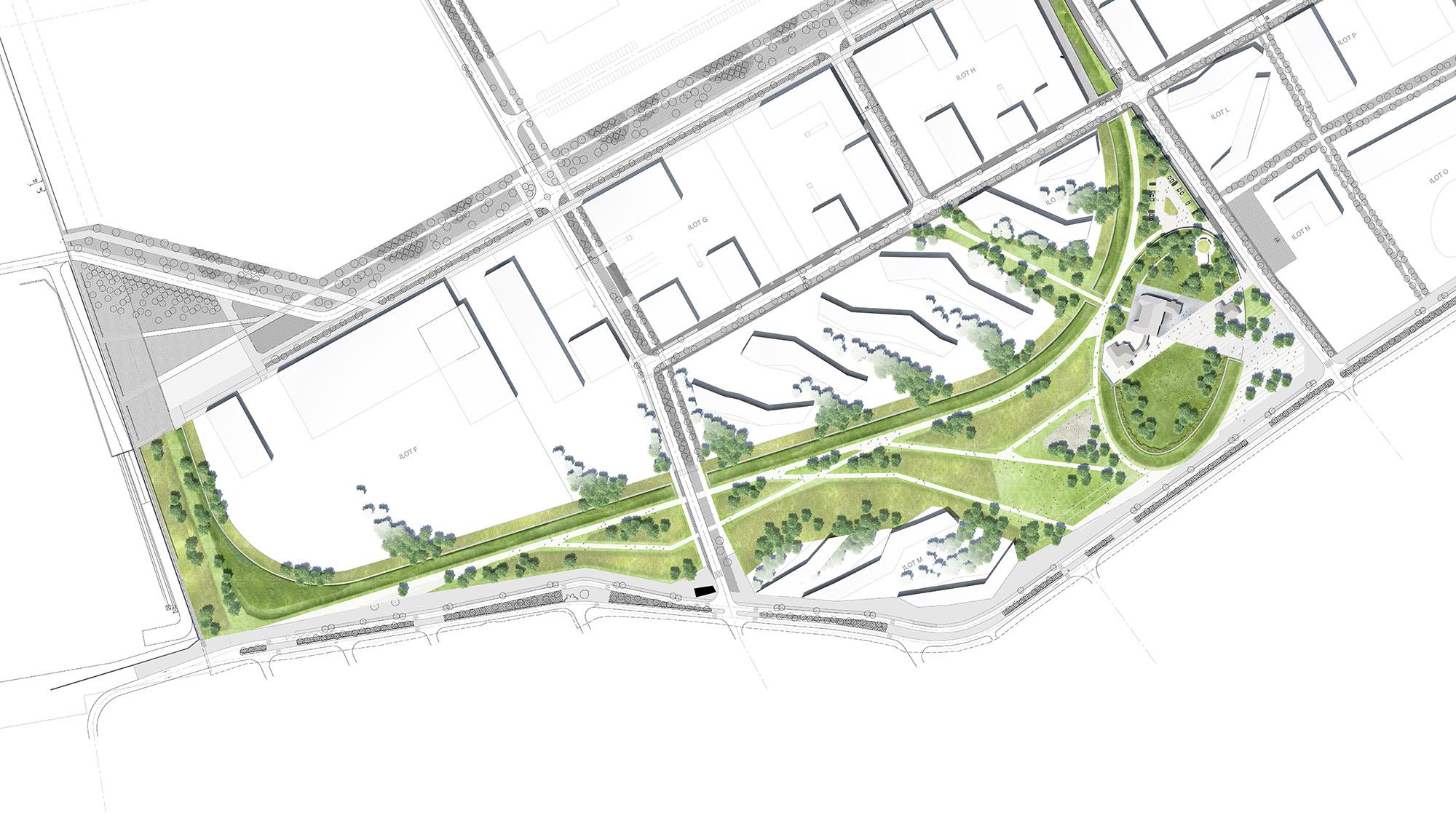 Plan masse général du projet du parc Vanderbilt situé sur l'écopole à Carrières sous Poissy