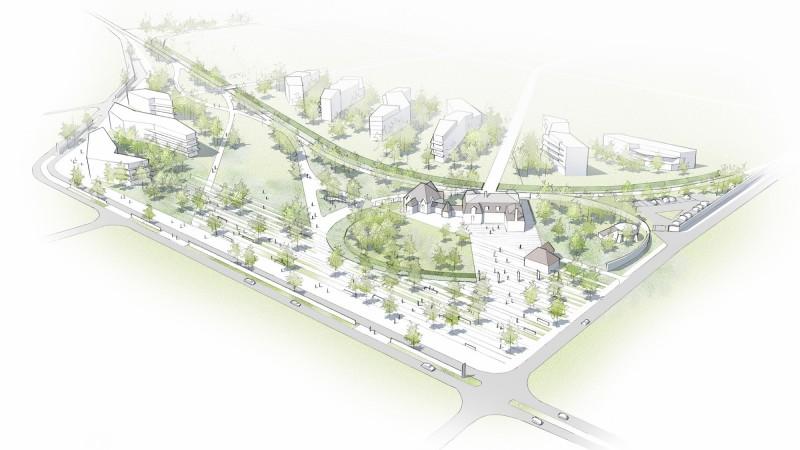 Perspective générale du projet du parc Vanderbilt situé sur l'écopole à Carrières sous Poissy