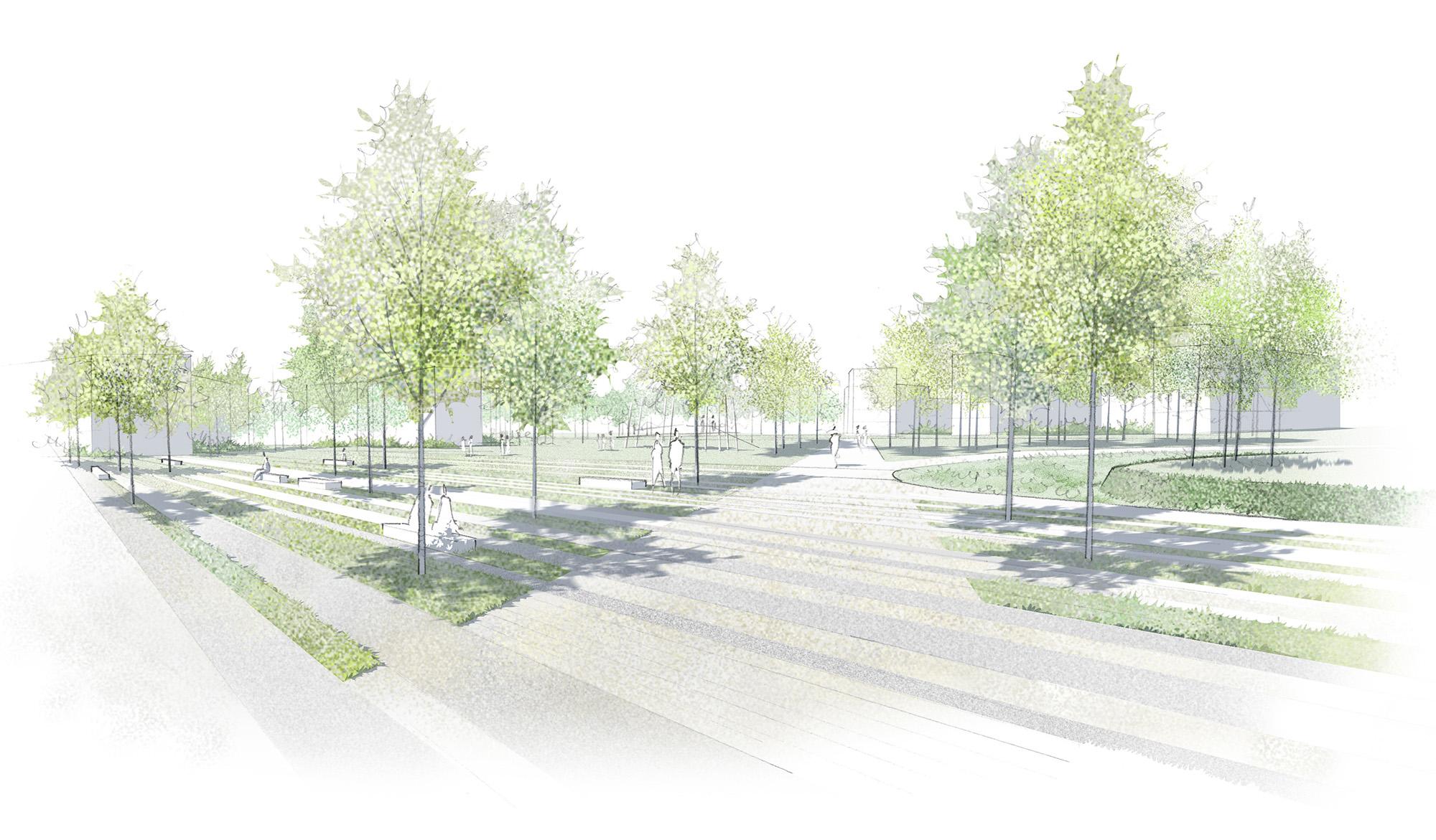 Seuils et espaces de transition du parc Vanderbilt situé sur l'écopole à Carrières sous Poissy