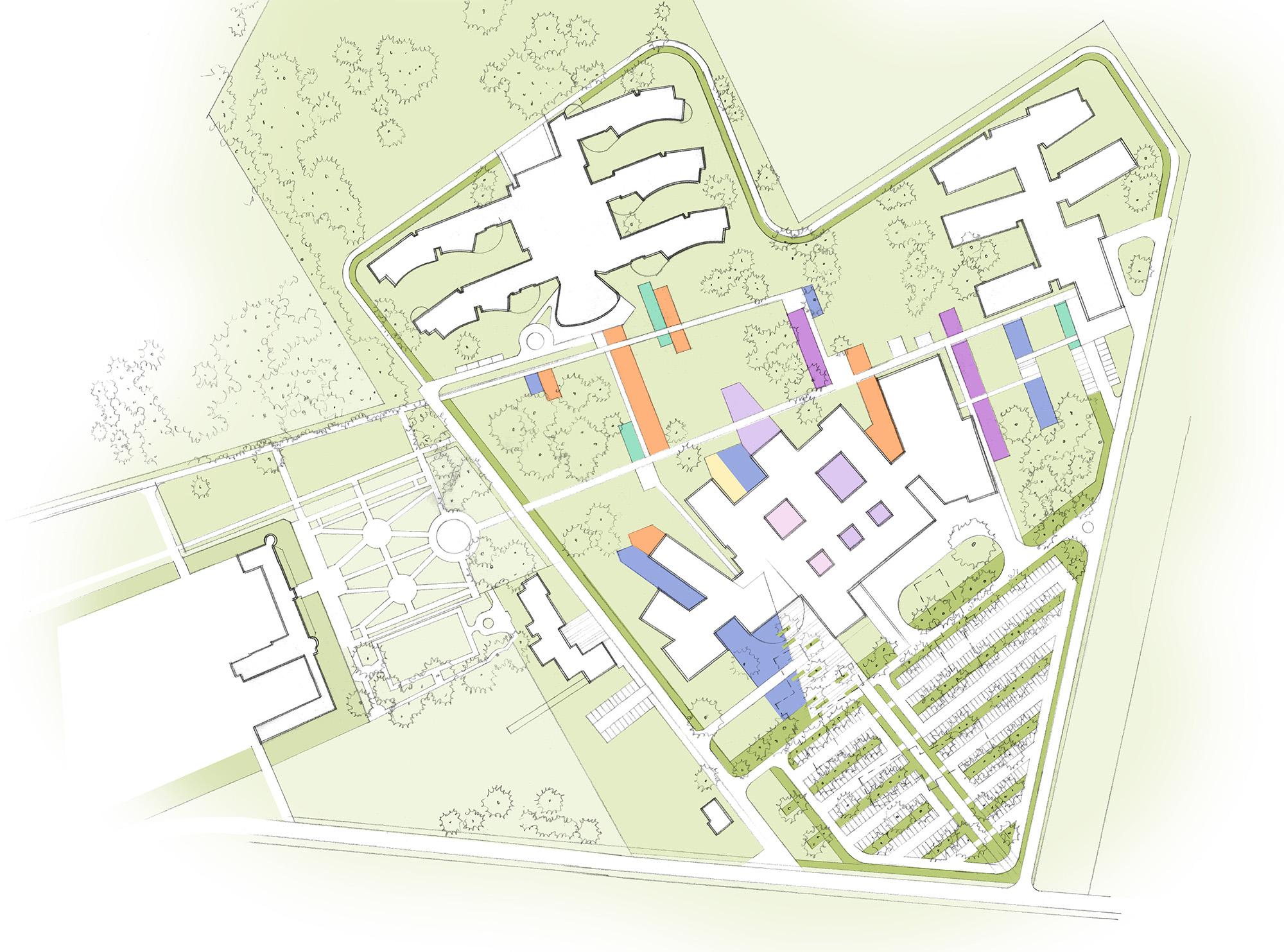 Plan esquissé du plan d'aménagement en phase finale de la MGEN