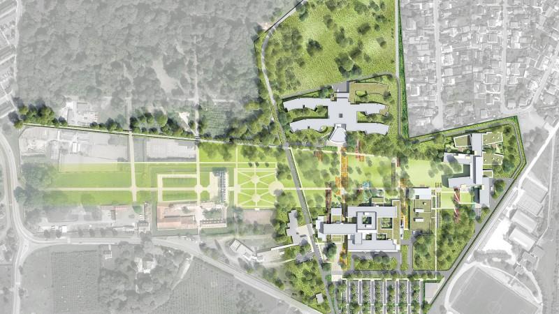 Plan masse des aménagement des espaces extérieurs du site MGEN de la Verrière