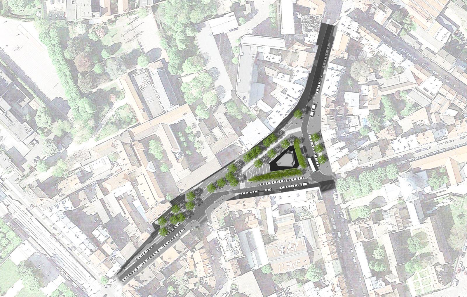 Plan masse des aménagements de la place de la résistance et de la déportation à Saint-denis