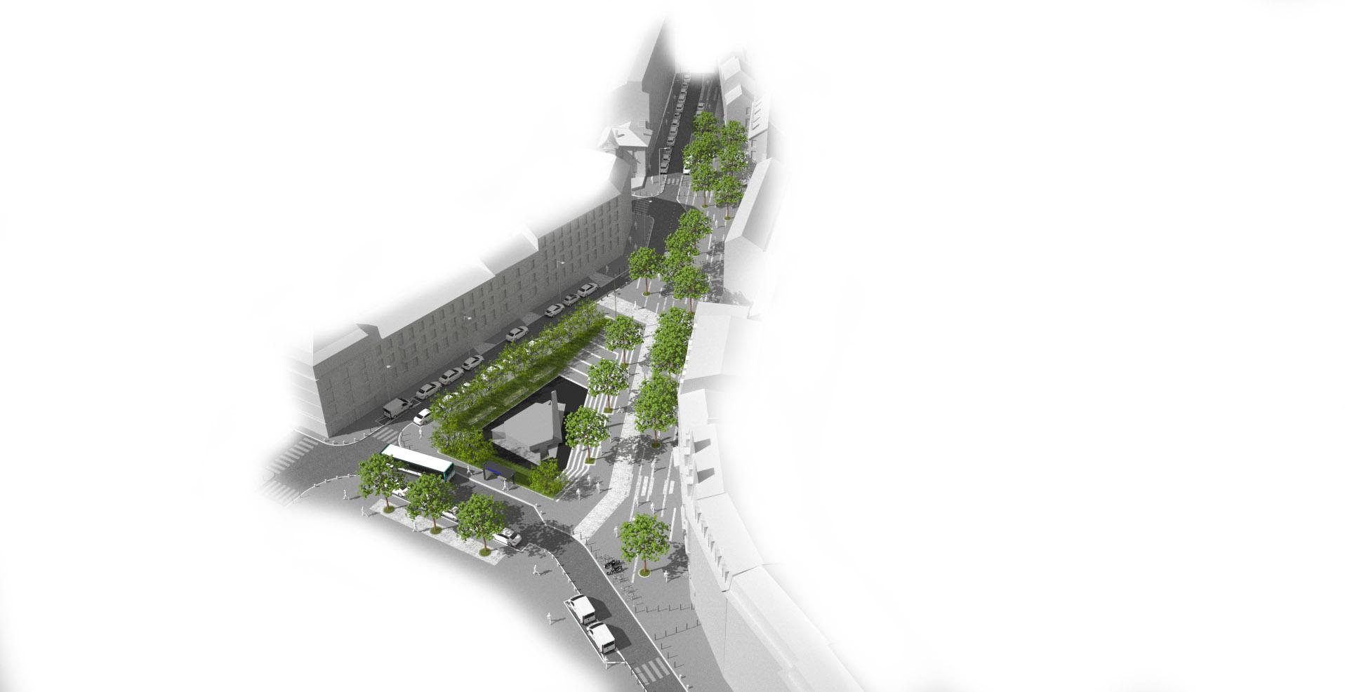 Perspective aérienne sur les aménagements de la place de la résistance à saint-denis