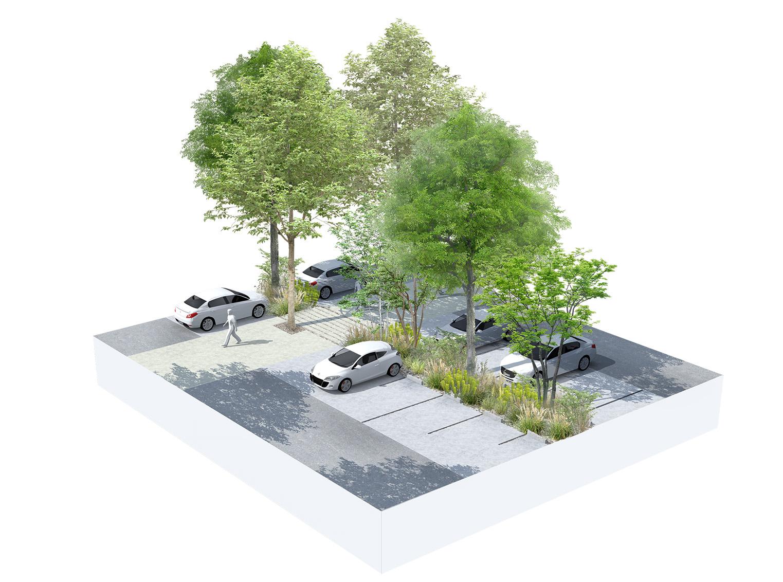 Détail sur le parking paysager du promenoir