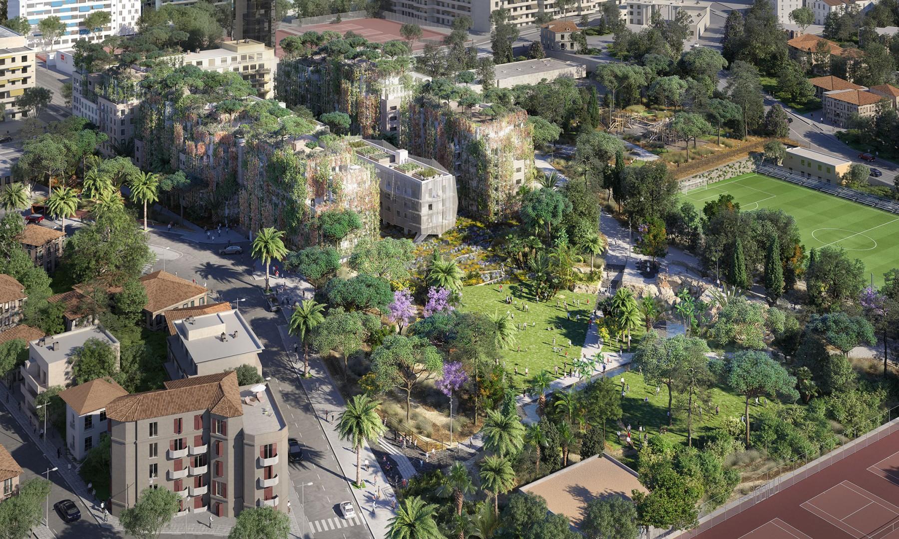 Vue aérienne sur le parc du Ray