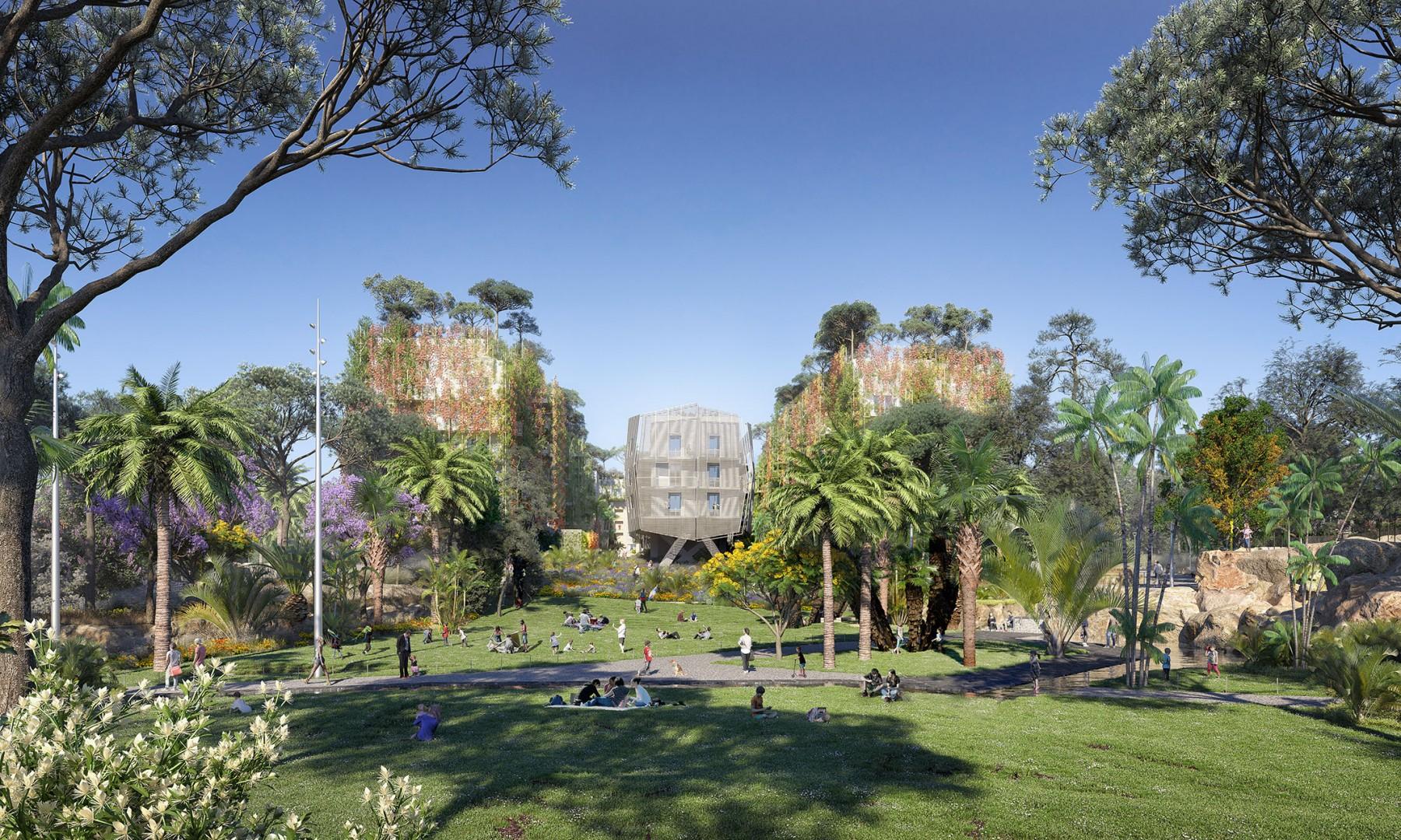 Perspective sur la grande pelouse et le jardin extravagant