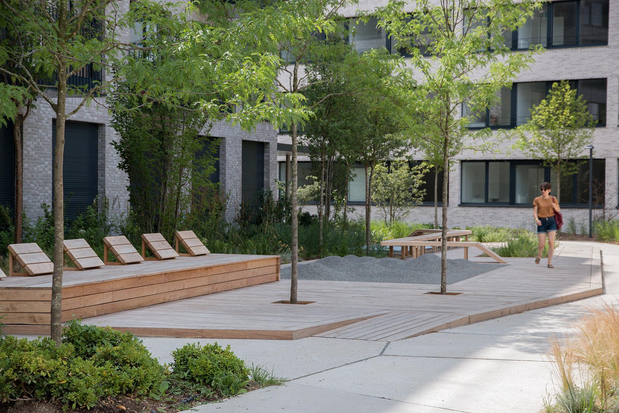 Le jardin communautaire et son deck - Opération - Pantin Canal - Emerige