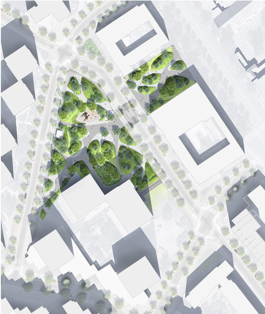 Plan masse des squares Dumas et Tich