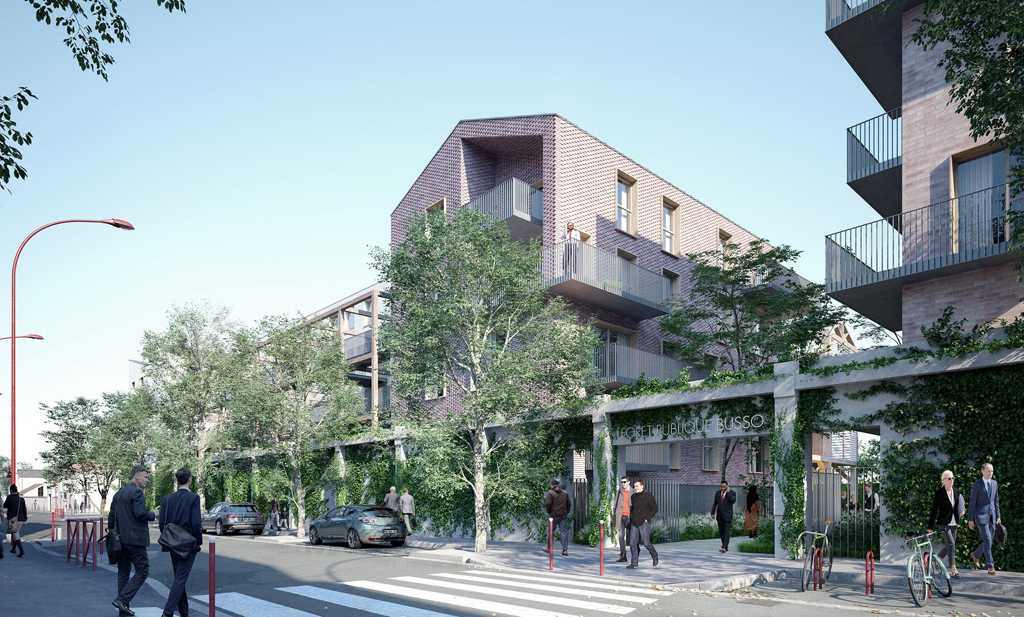 Forêt Busso  - Près-Saint-Gervais - Intégration du mur Colette Audry dans le projet architectural et paysagé