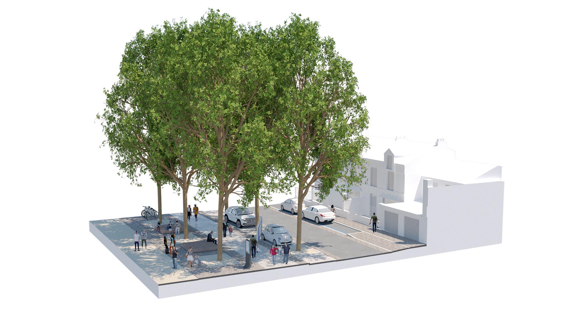 """Place Alsace-Lorraine - Ville de Soissons - Bloc Axonométrique sur le mail réinventé - section """"le mail des services"""""""