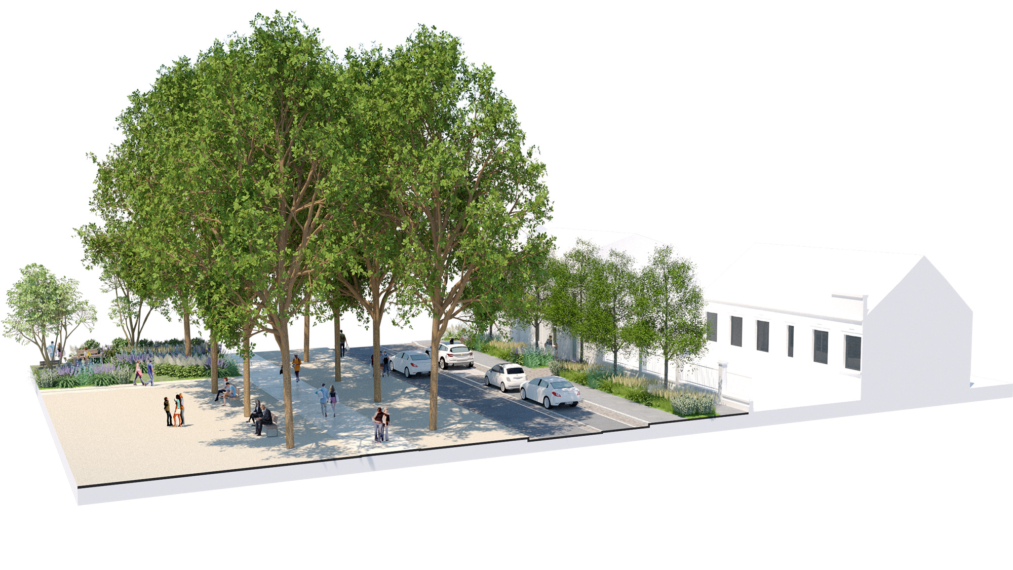 """Place Alsace-Lorraine - Ville de Soissons -  Bloc Axonométrique sur le mail réinventé - section """"le mail libre"""""""