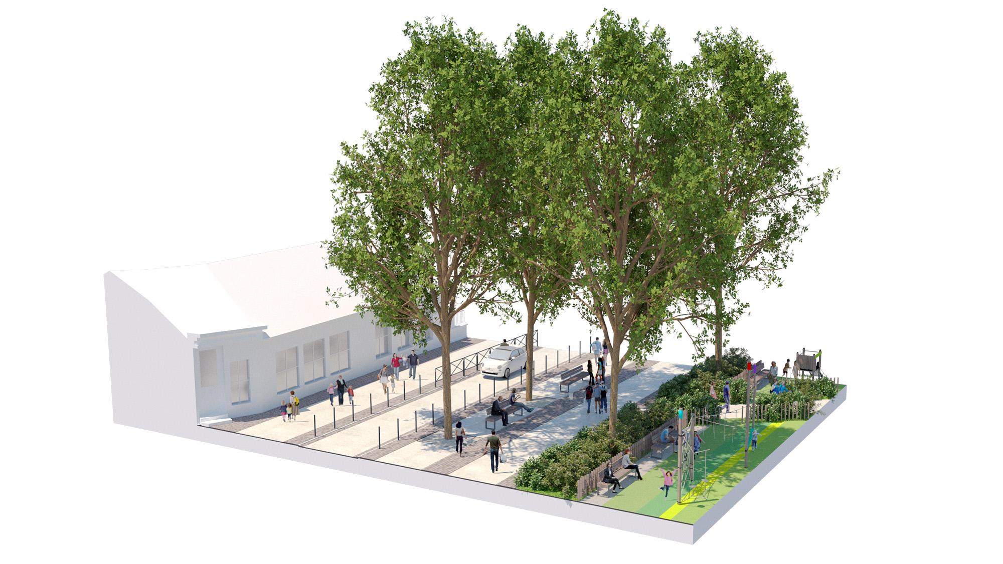 """Place Alsace-Lorraine - Ville de Soissons - Bloc Axonométrique sur le mail réinventé - section """"le mail des écoles"""""""