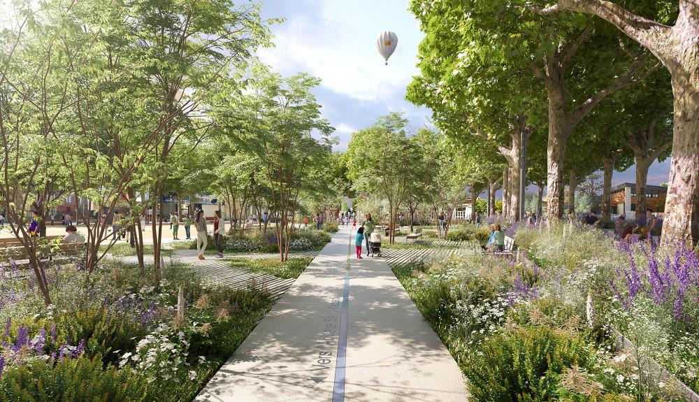 Place Alsace-Lorraine - Ville de Soissons - Perspective d'ambiance depuis la place jardin sur l'axe de l'histoire
