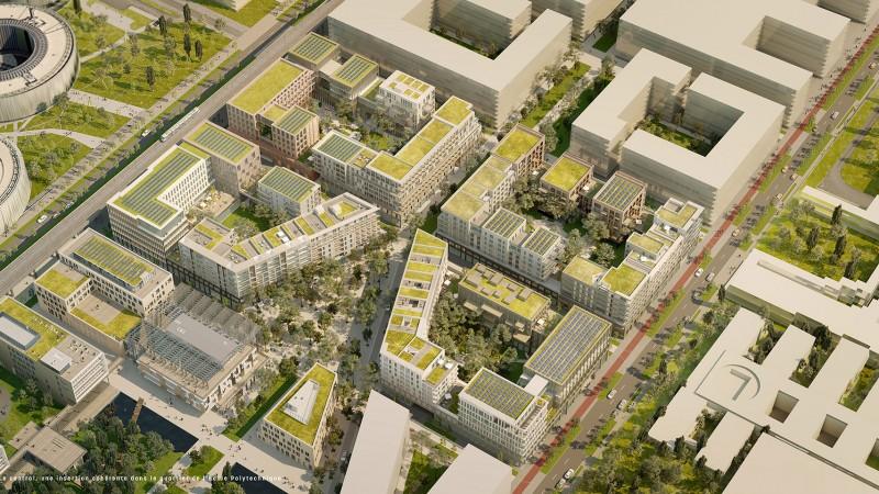 Le Central - Saclay - Palaiseau - Vue aérienne du futur quartier