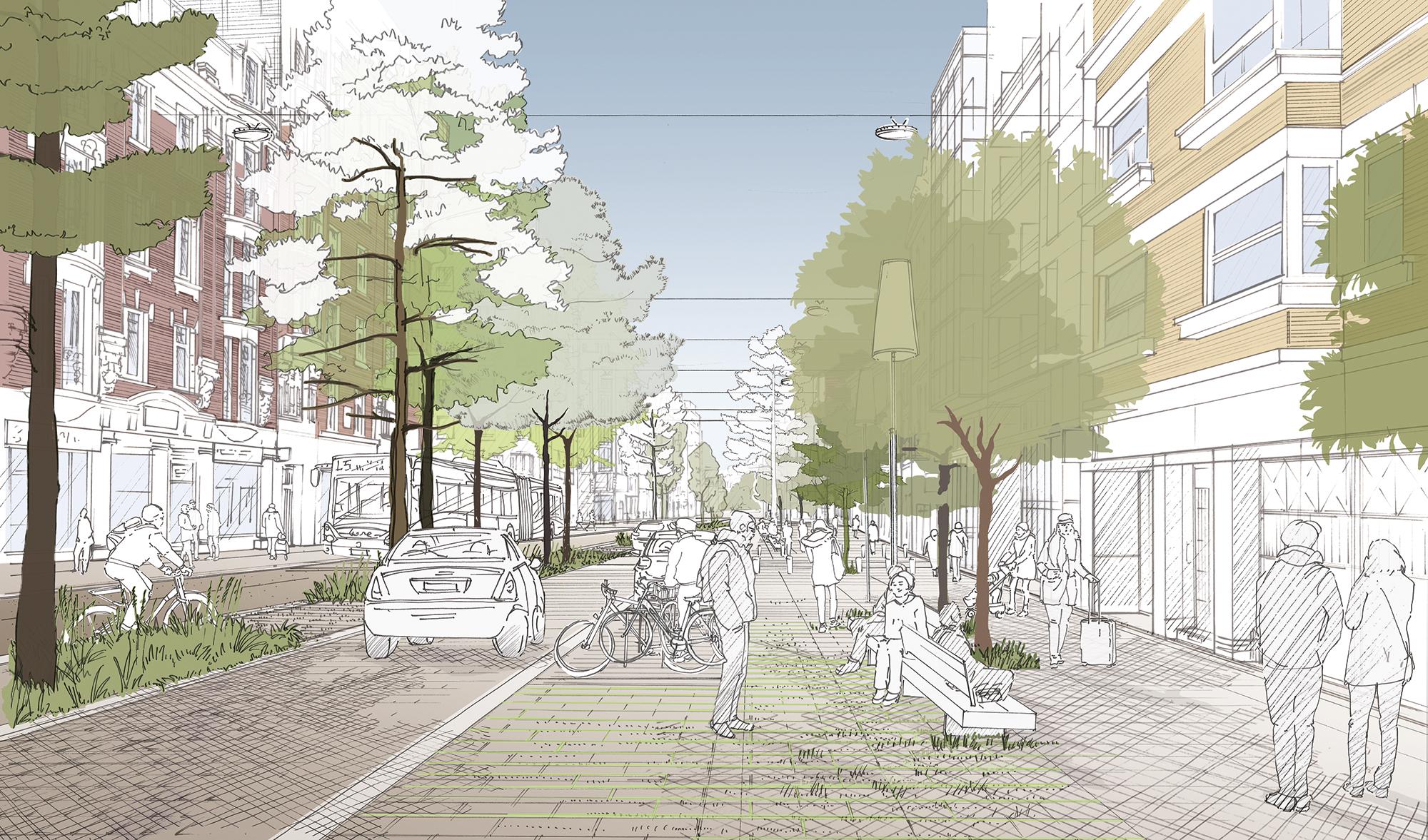 Perspective d'ambiance à l'intersection avec la rue P. Mauroy - rue du Molinel - Ville de Lille