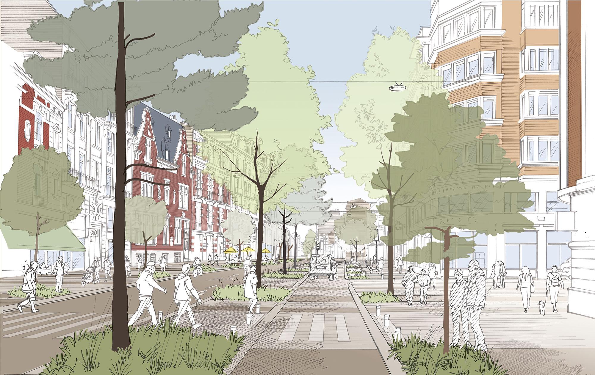 Perspective d'ambiance en section courante- rue du Molinel - Ville de Lille