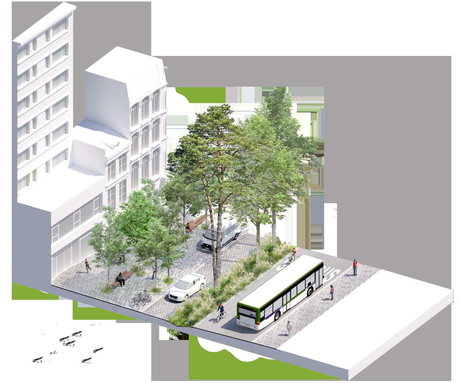 Bloc axonométrique projet en section courantes - rue du Molinel - Ville de Lille