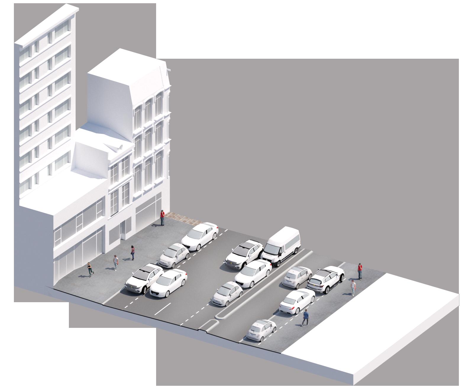 Bloc axonométrique de l'existant en section courantes - rue du Molinel - Ville de Lille