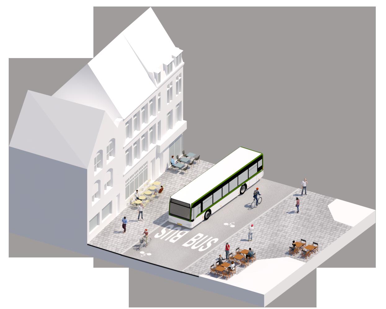 Bloc axonométrique projet sur la section la plus étroite - rue du Molinel - Ville de Lille