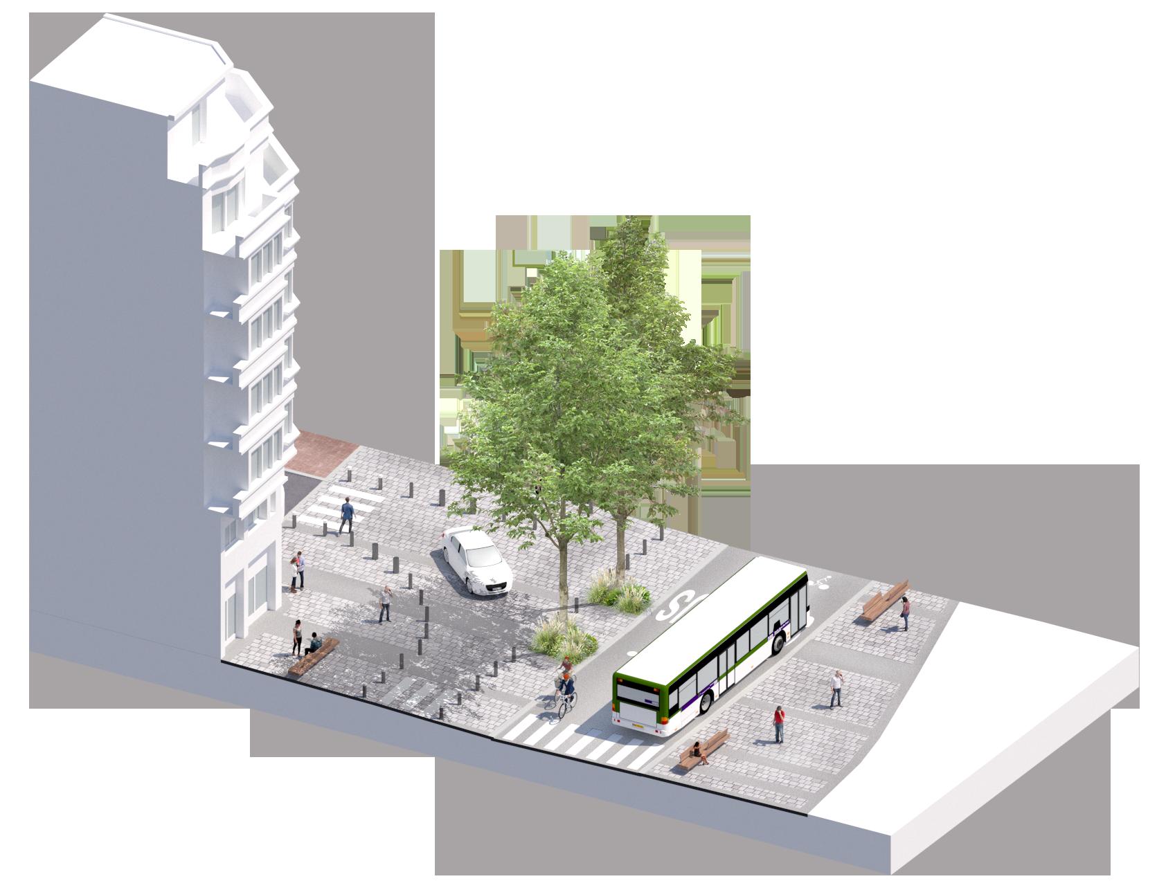 Bloc axonométrique projet sur la section la plus large - rue du Molinel - Ville de Lille