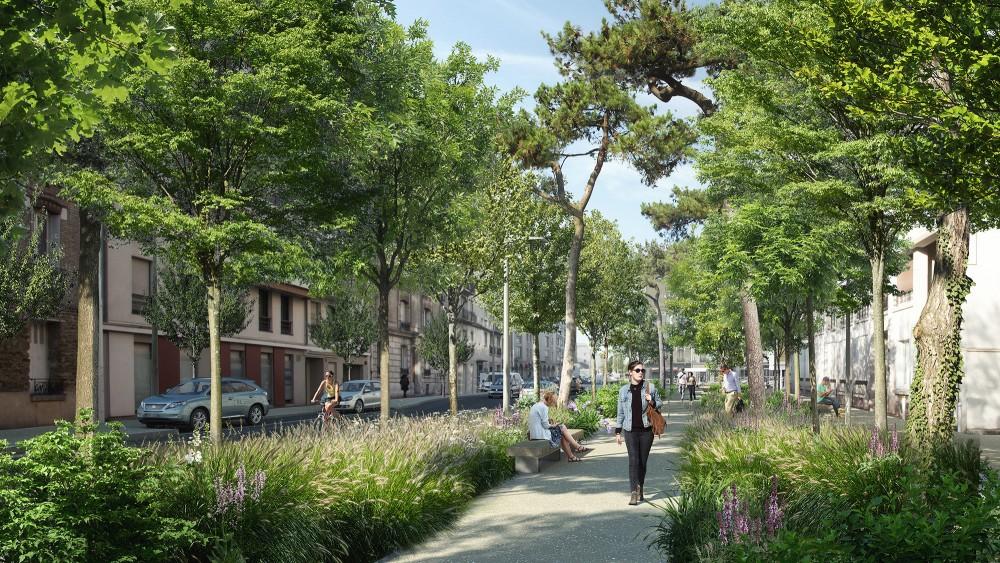 Perspective sur la la rue Gabriel Péri - Quartier Gautier-Ginoux Montrouge