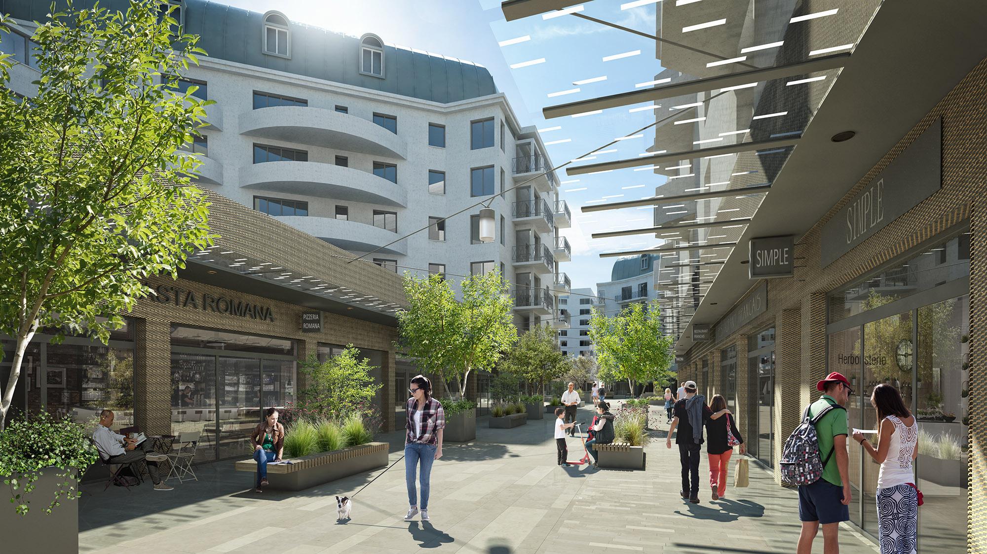 Perspective sur la rue piétonne Gautier - Quartier Gautier-Ginoux Montrouge