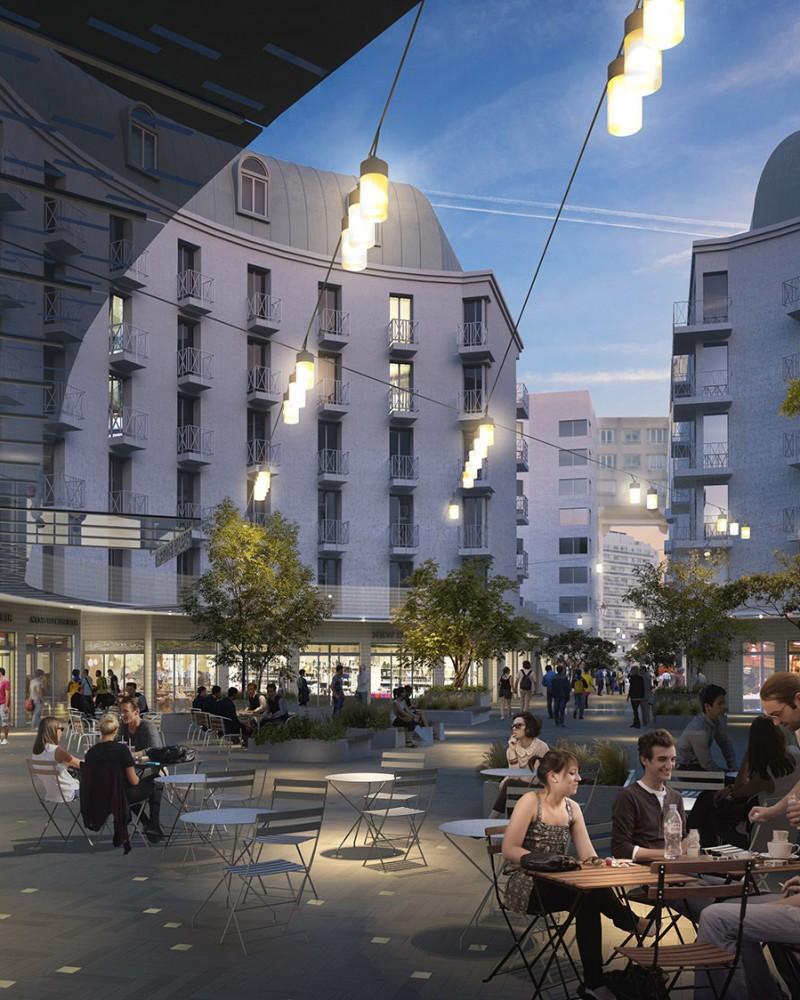 Perspective sur la place Gautier - ambiance nocturne - Quartier Gautier-Ginoux Montrouge