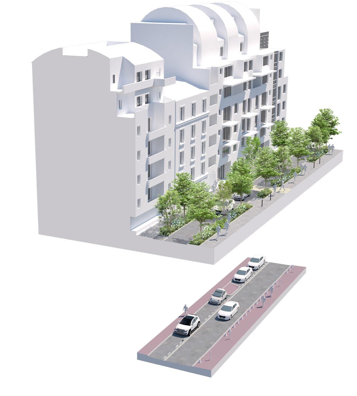 Bloc axonométrique avant-aprés sur la rue Bouzerait - Quartier Gautier-Ginoux - Ville de montrouge