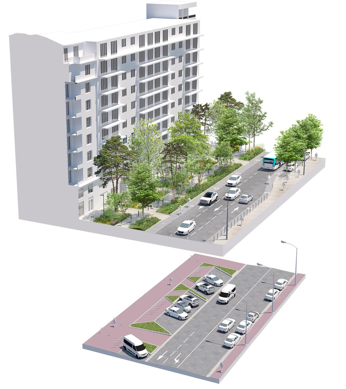 Bloc axonométrique avant-après sur la rue Gabriel Péri - Quartier Gautier-Ginoux - Ville de montrouge