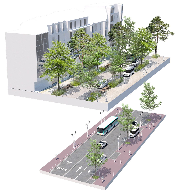 Bloc axonométrique avant-après sur la rue Ginoux - Quartier Gautier-Ginoux - Ville de montrouge