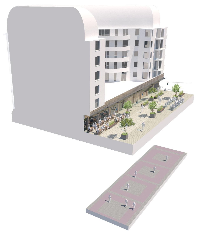 Bloc axonométrique avant-après sur la rue piétonne Gautier - Quartier Gautier-Ginoux - Ville de montrouge