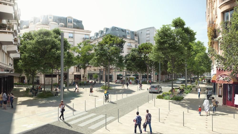 Perspective sur la rue Ginoux et la place Gabriel Péri - Quartier Gautier-Ginoux Montrouge